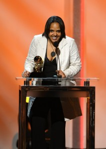 Terri Lyne Carrington accepting her GRAMMY for BEST JAZZ INSTRUMENTAL ALBUM at the January 26, 2014 56th Annual GRAMMY Awards Show in Los Angeles. PHOTO Courtesy of The Recording Academy.
