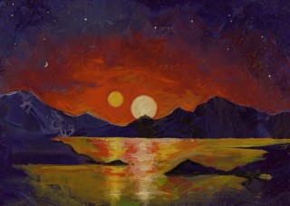 """Acrylic painting, University of Utah astrophysicist Ben Bromley envisions the view of a double sunset from an uninhabited Earthlike planet orbiting a pair of binary stars. In a new study, Bromley and Scott Kenyon of the Smithsonian Astrophysical Observatory performed mathematical analysis and simulations showing that it is possible for a rocky planet to form around binary stars, like Luke Skywalker's home planet Tatooine in the """"Star Wars"""" films. So far, NASA's Kepler space telescope has found only gas-giant planets like Saturn or Neptune orbiting binary stars."""