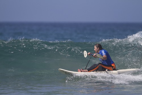 Representative of Team USA, Alana Nichols, finds a glassy wave at La Jolla Shores. Photo: ISA/Reynolds