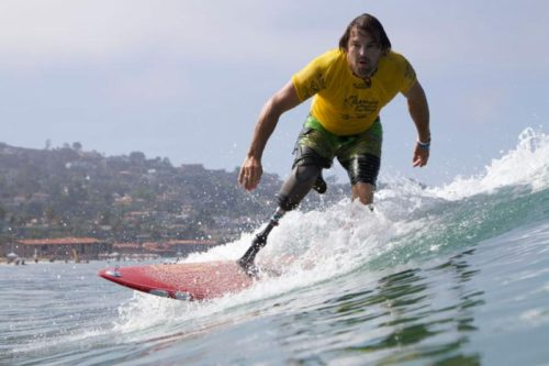 Norway's Ismael Guilliorit competes in the Stand Division at the inaugural ISA World Adaptive Surfing Championship in La Jolla, California in 2015. Photo: ISA / Lockwood